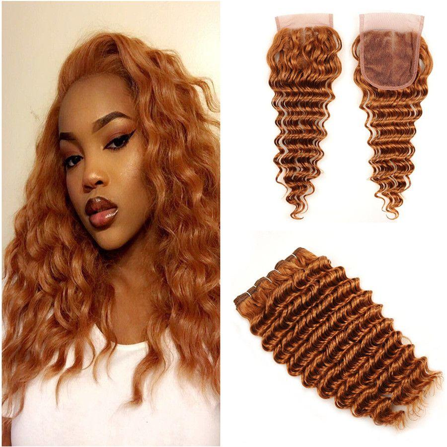 Color 30 # Light Auburn شعر الإنسان موجة عميقة حزم مع إغلاق الدانتيل البرازيلي Vigrin الشعر التمديد 3 حزمة صفقات مع إغلاق الدانتيل