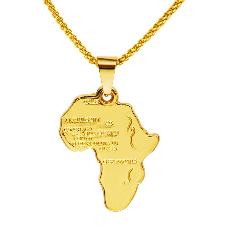 Good Quality 18k Gold Plated Africa Map Pendant Necklace for Women Men Fashion African Map Necklace Hip Hop Jewelry 29.5in Bling