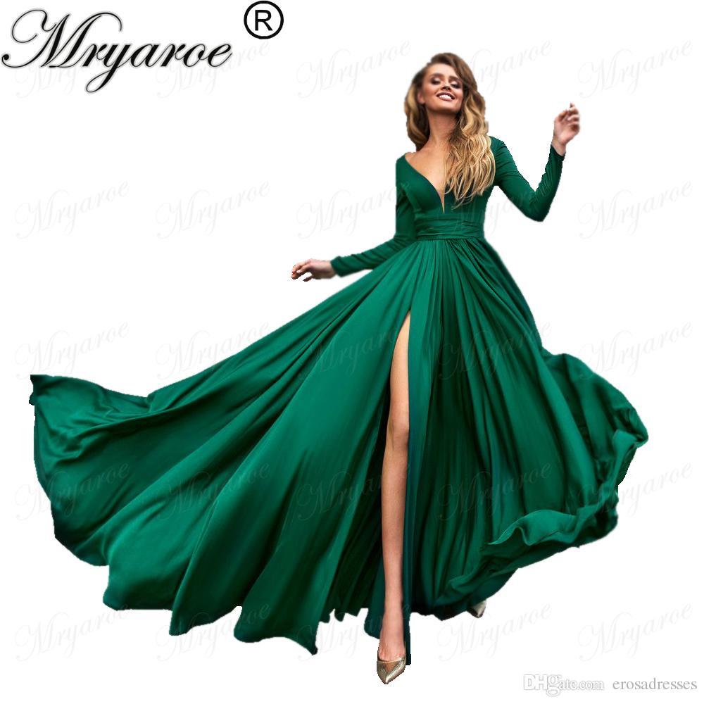 Großhandel Mryarce Sexy Tiefem V Ausschnitt, Lange Ärmel, Grünes Abendkleid  Mit Hoch Aufgeteilten, Dehnbaren, Eleganten Kleid Für Besondere Anlässe