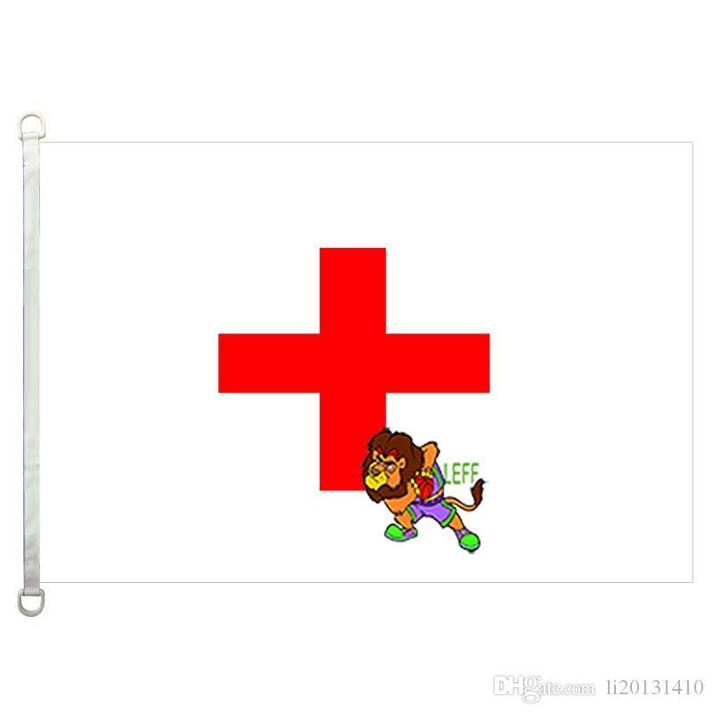Bandeira de bandeiras de país de Blanc croix rouge, 90 * 150 CM, 100% poliéster, banner, Impressão Digital