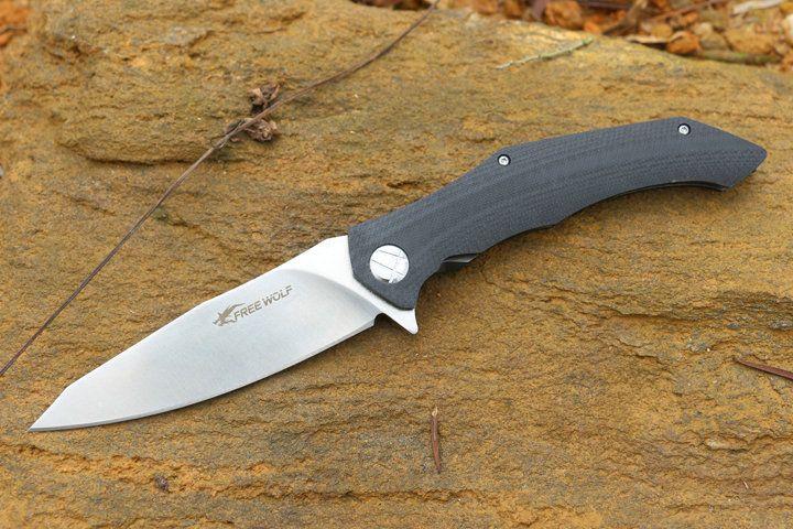 Promotion Free Wolf Flipper Folding Knife 9Cr18 Satin Blade G10 Handle EDC Pocket Folding Knives Frame Lock