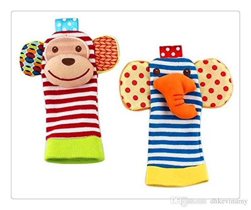 Envío gratis BestSeller calcetines de bebé Animal bebé muñeca sonajeros Buscador de pies Conjunto de juguetes blandos de desarrollo Mono y elefante