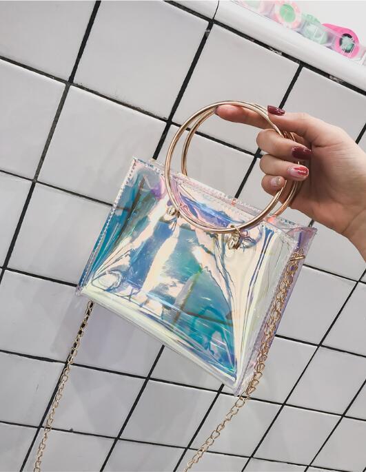 brand high quality designer handbags laser big bag clear pvc transparent summer beach large tote travel 2018