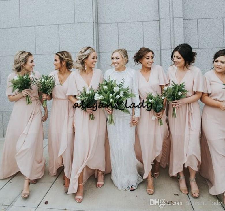 Soluk Pembe Şifon ülke Gelinlik Modelleri Batı Ülke Bahçe Plaj Resmi Düğün Parti Konuk Hizmetçi Onur Kıyafeti Artı Boyutu