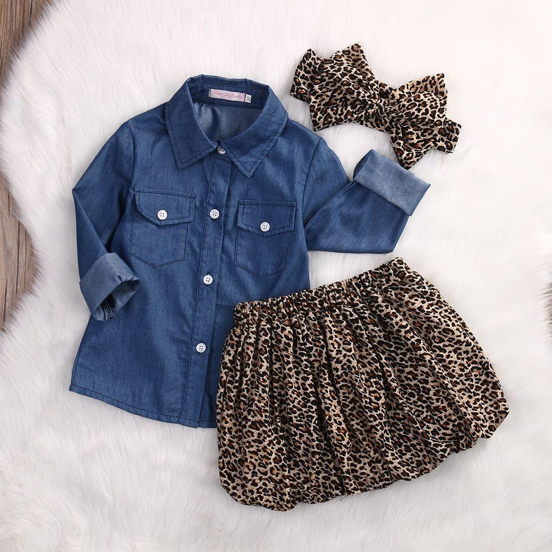 3PCS Set Cute Baby layette 2018 été tout-petits enfants Hauts Denim + Leopard Culotte Tenues Ensemble jupe Vêtements pour enfants fille