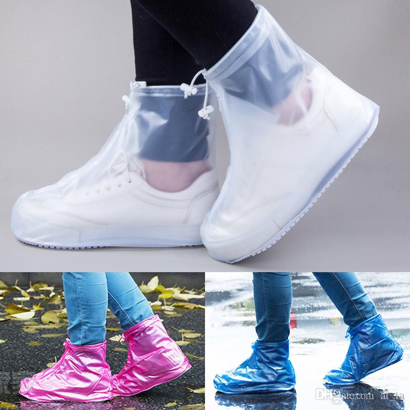 Botas impermeables de plástico Accesorios lluvia zapatos de PVC Bolsas de día lluvioso antideslizante cargador de lluvia Protección Overshoes cubierta Equipos de viajes
