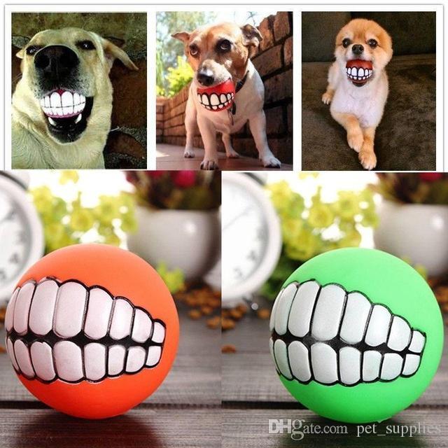 Simpatico prodotto per animali domestici Giocattoli con palline Cucciolo di gatto Denti divertenti con palla Giocattolo in silicone Masticare Cani sonori Gioca a giocattoli Squeaker Sfera sonora cigolante DHL Gratis