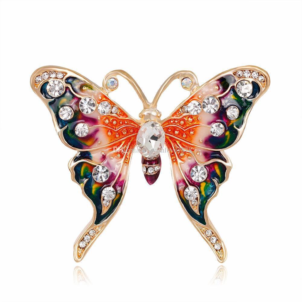 2 Renkler Rhinestone Kelebek Pin Broş Tasarımcı Broş Rozeti Metal Emaye Pin Broche Kadınlar Lüks Takı Parti Dekorasyon