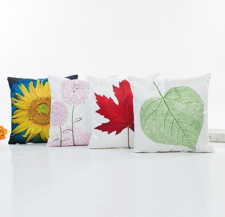 꽃 베개 해바라기 단풍 나무 잎 민들레 식물 패턴 베개의 경우 디지털 실크 직물 cusion 커버를 모방 인쇄 된