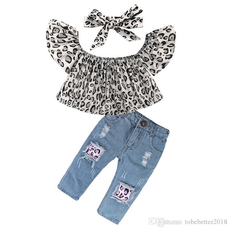 Neue Mode Kleinkind Baby Mädchen Schulterfrei Leopard Gedruckt Top + Destroyed Ripped Jeans + Stirnband Kinder Kleidung Outfit Set