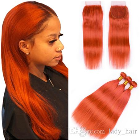 Paquetes brasileños coloreados del cabello humano de la Virgen anaranjada con el encierro del cordón 4x4 Sedoso pelo anaranjado puro rechoncho que teje extensiones con el encierro superior