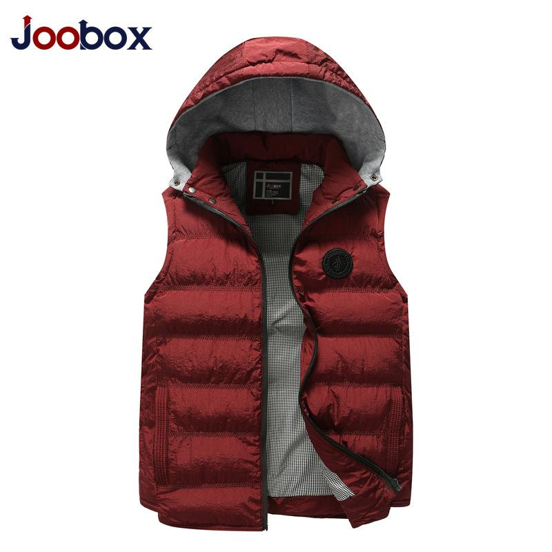 2018 New Vest Men Sleeveless Vest Winter Thick Warm Hat Detachable Stand Sleeveless for Man Plus Size L-4XL Casual Outwear