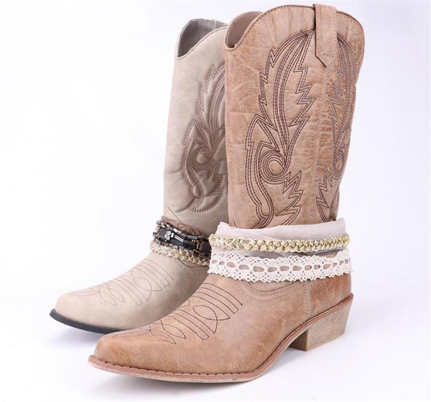 Top.Damet Mulheres Botas de Cowboy de Couro PU Joelho Botas Altas Cowboy com Rendas e Cadeia de Decoração Ocidental Sapatos Botas de Motociclista