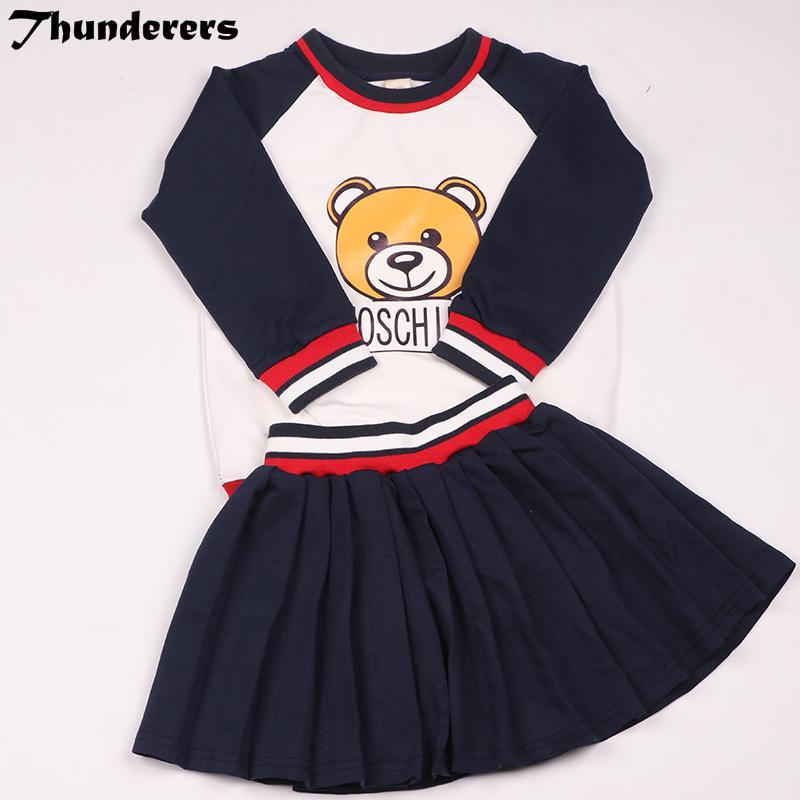 2018 conjuntos de roupas de verão Crianças Conjunto de Urso Irmão e irmã Longshort estilo Longo e curto mangas curtas saia conjuntos bonitos Y18102407