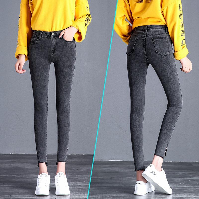 Otoño de las mujeres ocasionales de cintura alta elástica Jeans mujer gris oscuro delgado estiramiento pantalones de lápiz de mezclilla tallas grandes pantalones largos
