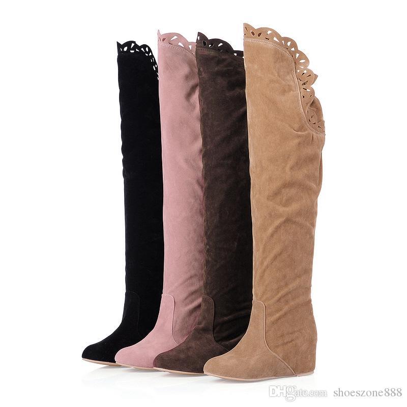 горячие продажи женщин сапоги искусственной замши над коленом плоские теплые бедра высокие сапоги скольжения на Женщина зимние клинья обувь bx5847