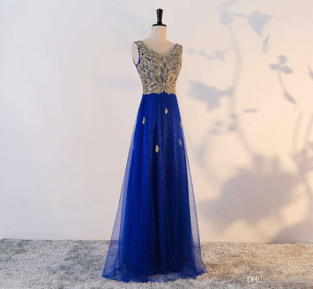 Großhandel 12 Dunkelblaue Lange Abschlussball Kleider Mit Pailletten  Kristallmädchen V Ansatz Sleeveless Abend Kleid Formale Abnutzung A Line
