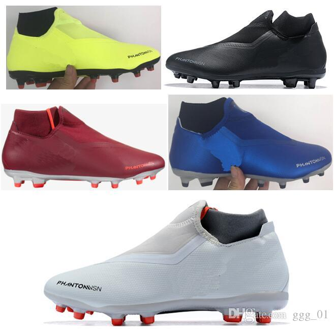 Free Shipping 2018 Cheapest Mens Soccer Cleats Phantom Vision Elite DF FG Soccer Shoes High Ankle Men Football Boots Chuteiras