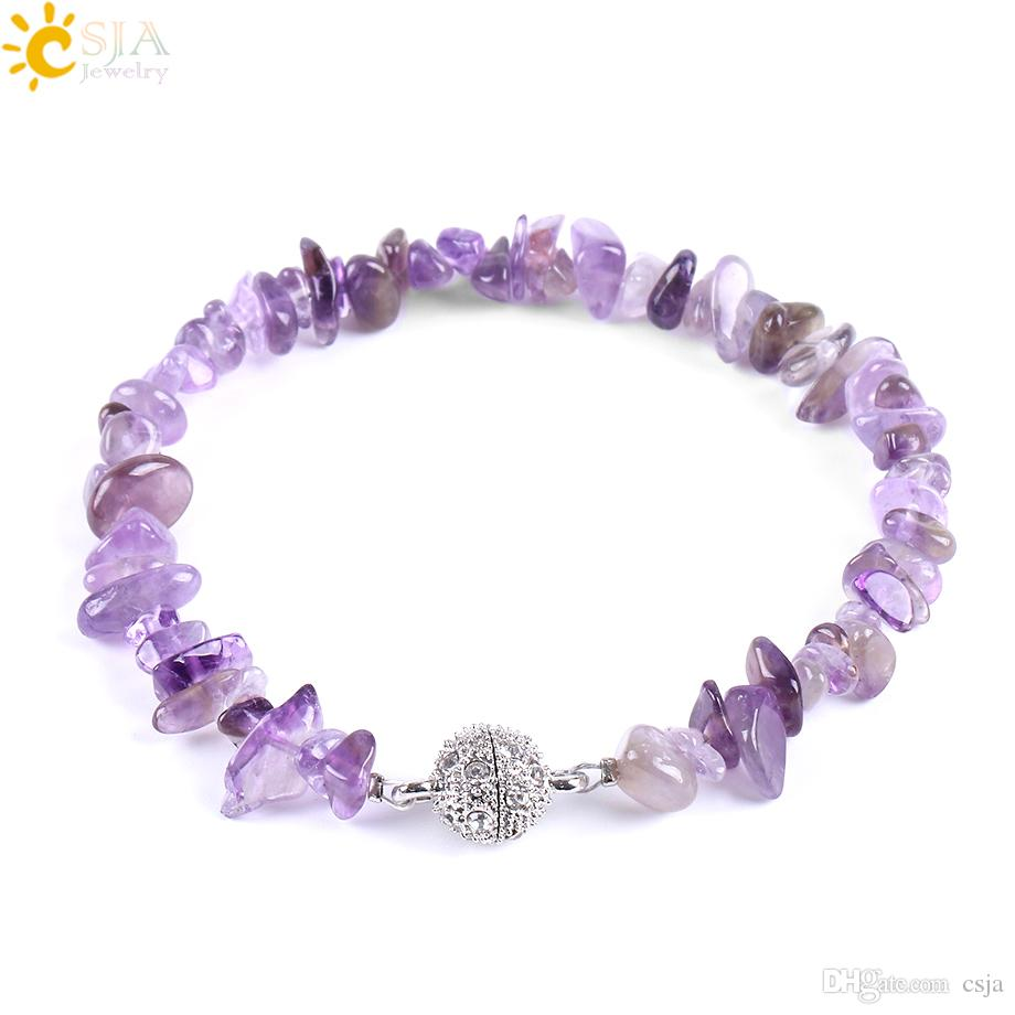 CSJA Fashion Brand Meditation Healing Crystal Gemstone Chips Beaded Bracelets Women Natural Stone Beach Jewelry Amethyst Snap Bracelet E591