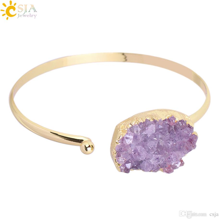 CSJA Cuff Bracelets for Women Purple Natural Stone Bangle Amythest Crystal Quartz Gold Color Bangles Adjustable Wedding Charm Jewelry F347