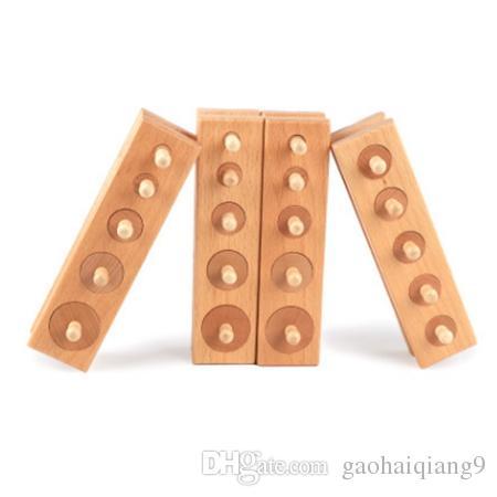 FlyingTown 4pcs / set Giocattoli di legno Montessori educativi Blocchi Socket cilindro giocattolo del giocattolo di formazione per lo sviluppo del bambino