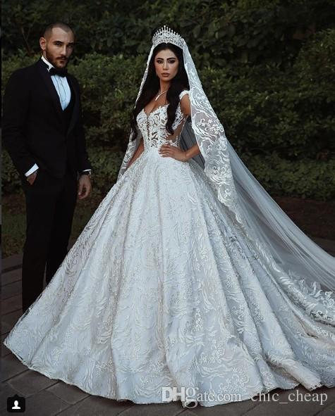 Luxurious Vintage 2018 Lace Wedding Dresses Spaghetti Ball Gown Bridal Dresses Fashion Charming Court Train Wedding Gowns