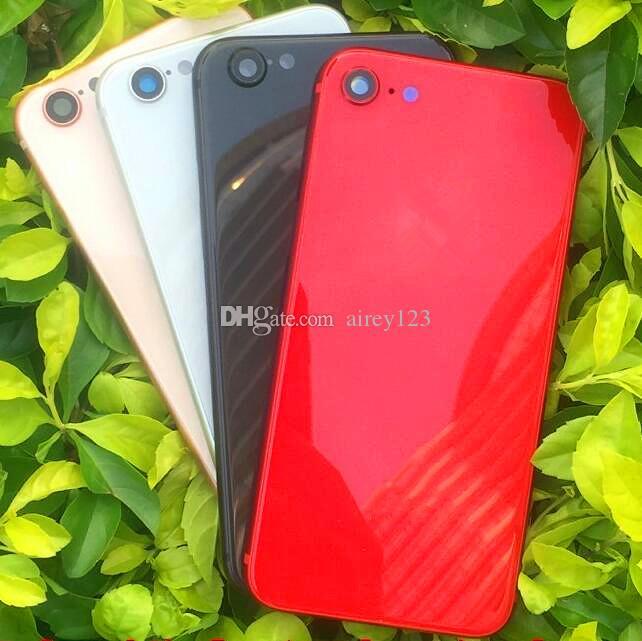 آيفون 6 6S 7 زائد الإسكان عودة إلى فون 8 أسلوب معدن زجاج باب البطارية كاملة الأسود الأحمر الخلفي غطاء مثل 8+
