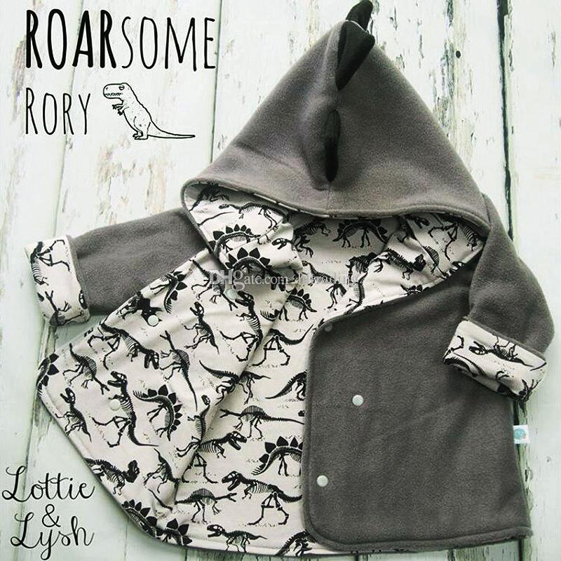 Cappotti di dinosauro neonati maschi 2018 Autunno Inverno bambini Hoodies Cardigan Jacket bambini Outwear bambini Abbigliamento C4537