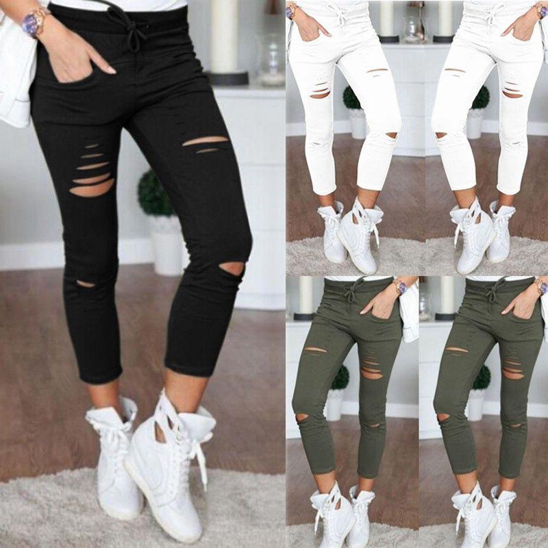 Compre Nuevo Skinny Jeans Mujer Pantalones De Mezclilla Agujeros Destruidos Rodilla Lapiz Pantalones Pantalones Casual Negro Blanco Stretch Jeans Rasgados A 10 42 Del Peng Ning Dhgate Com