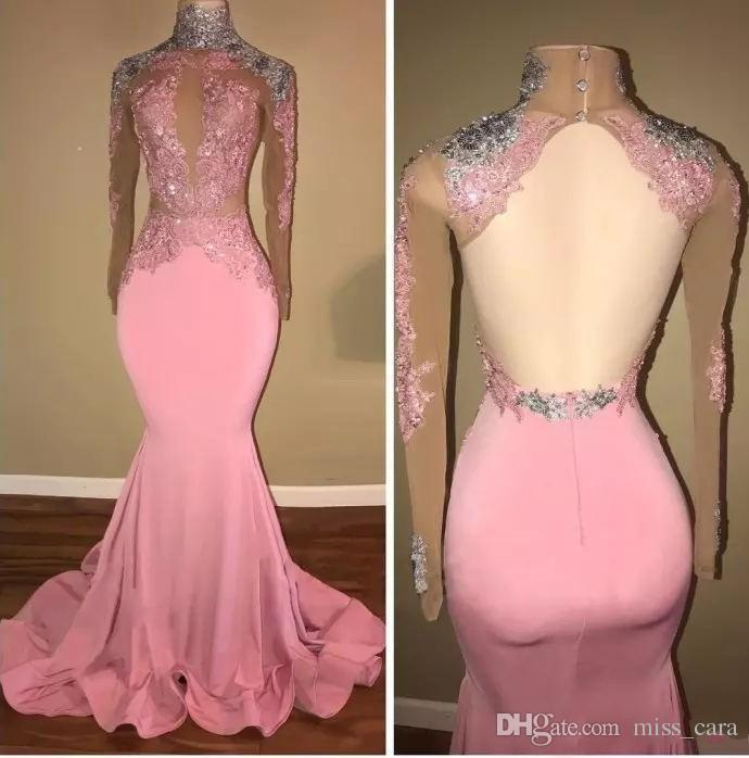 Sexy High Neck Pink Prom Dresses Mermaid Open Back Satin Long Party Dress Evening Wear Lace Applique Sequined Graduation Gowns