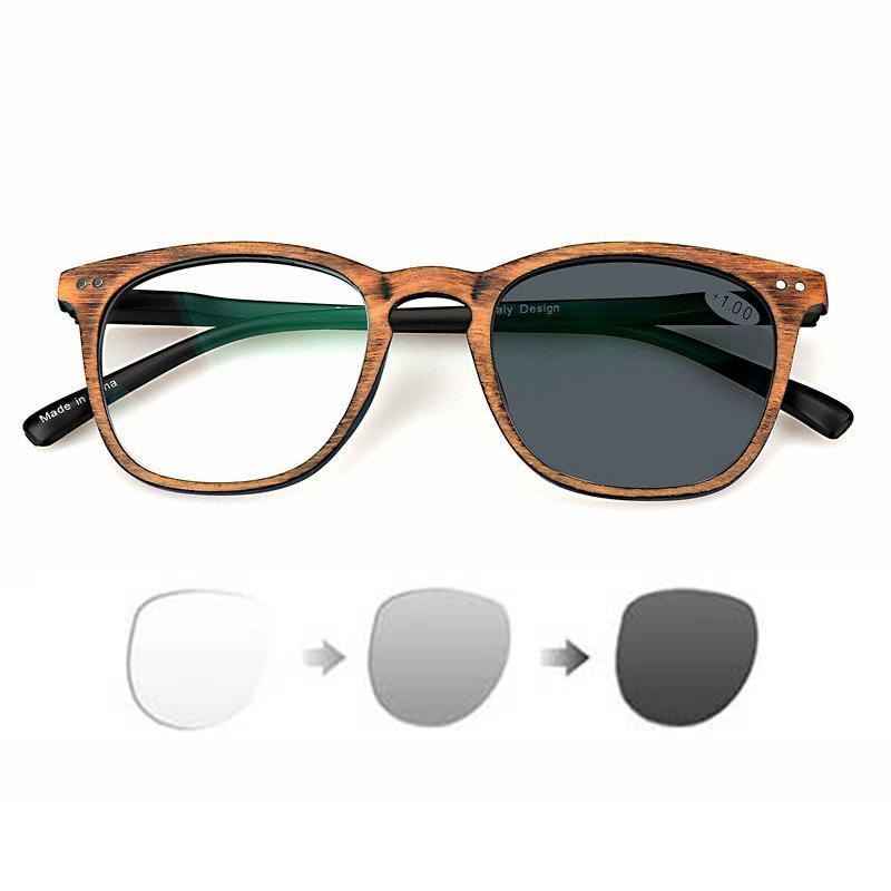 Wood Grain Male and Female Resin Sun Photochromic Reading Glasses Super Clear Presbyopic Glasses