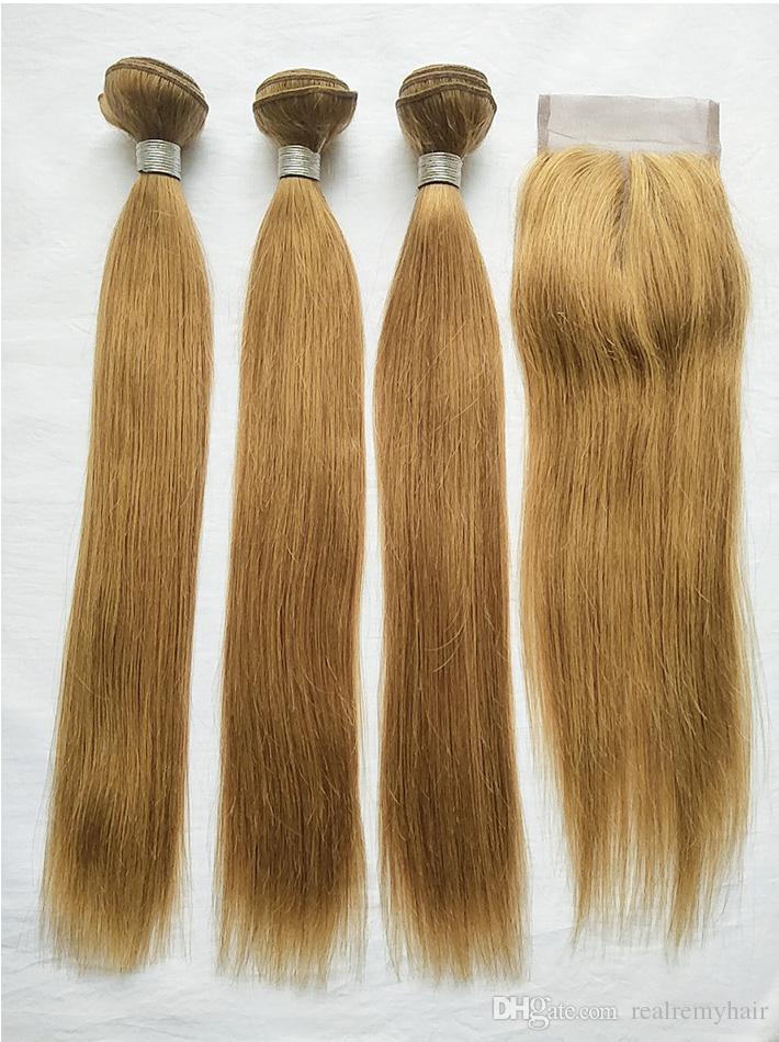 Brazilian Virgin Hair 27# Colored Blonde Human Hair 3 Bundles With Lace Closure Cheap Blonde Straight Hair Weaves With 4x4 Lace Closure