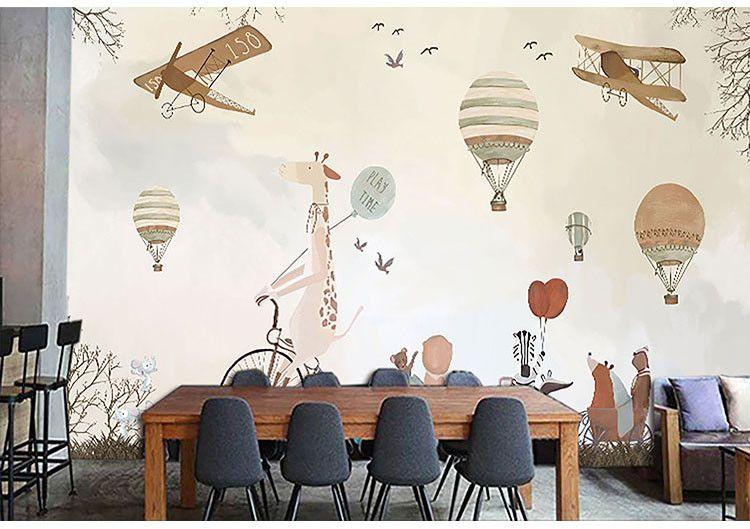 Personalizado foto 3D papel de parede dos desenhos animados pintados à mão mural de balão de ar quente Crianças sala de sofá fundo papel de parede papel de parede