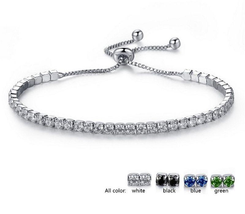 PAVERA PAVEL PAVE CAXCONIA PAVE CZERCONIA PAVE CAXONIA Pulsera de la cadena para las mujeres Clear Blue Green Green Skinstone Crystal Bracelets Joyería