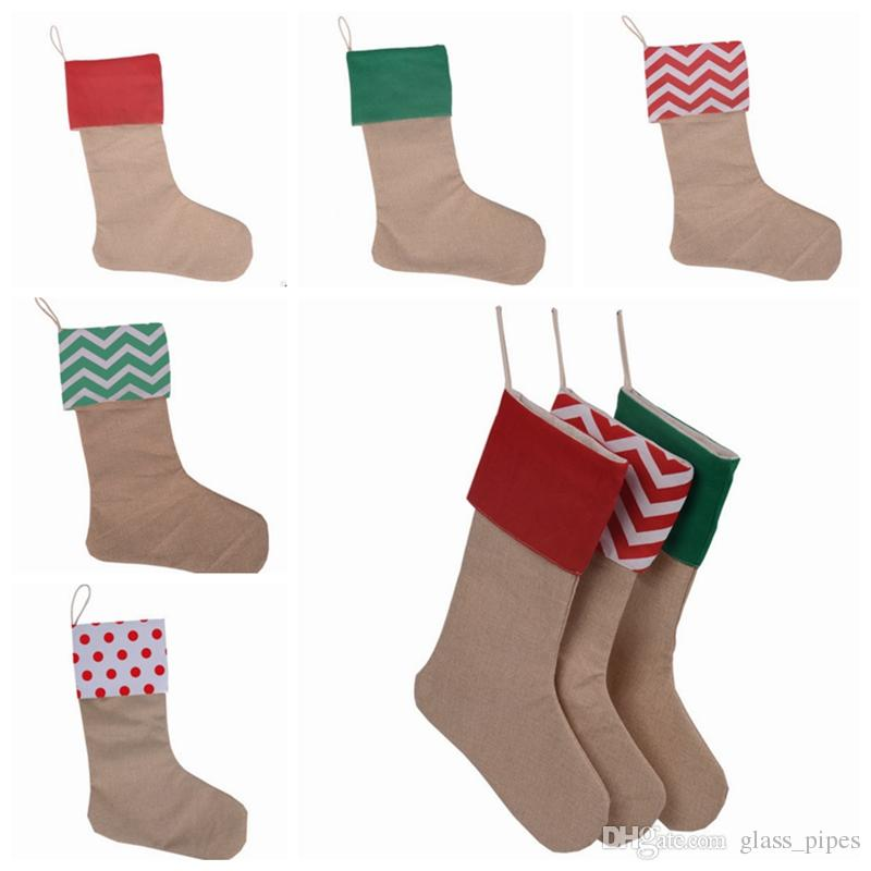Burlap Christmas Stockings.Christmas Stockings Burlap Xmas Stocking Bags Santa Candy Gift Bags Santa Socks Christmas Decorations Party Supplies 7 Designs Yw1404 Xmas Ornaments