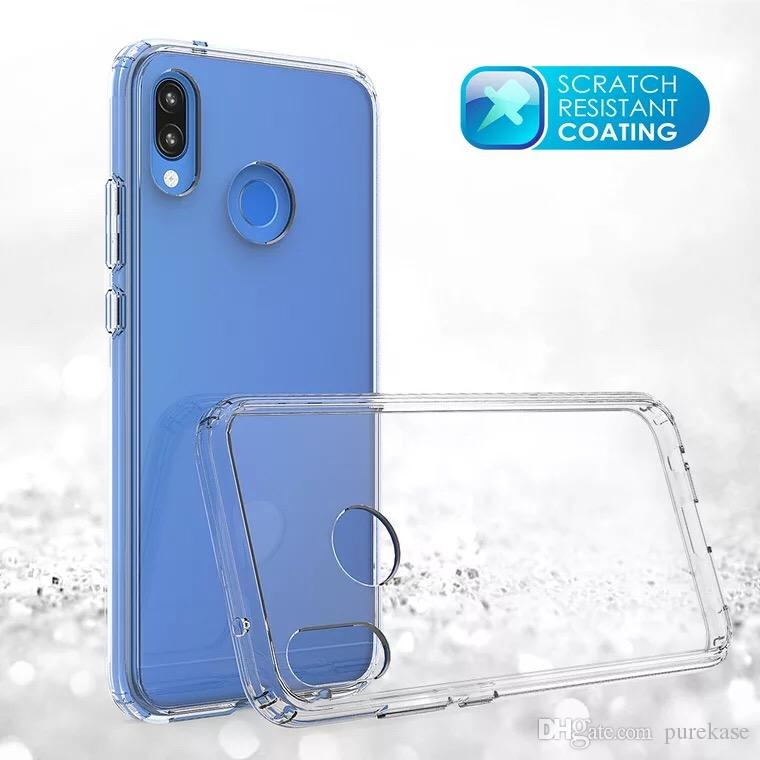 Pure Kase For Huawei P20 Lite Case Transparent Back Cover PC+TPU Hard Soft Case Drop-proof Case Free Shipping