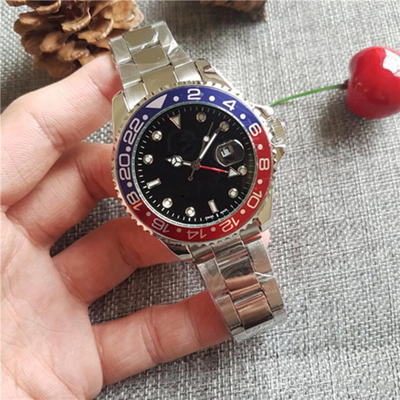 시계 고급 자동식 고급 시계 남성 GMT 자동 태엽 시계 블랙 블루 세라믹 베젤 시계 BLRO 스테인레스 오리지널 걸쇠 남성 시계