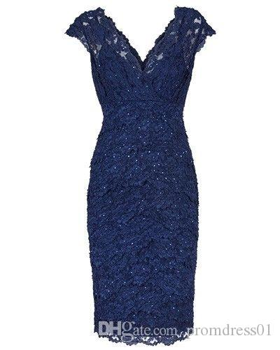 V Neck V Back Empire Lace Knee Length Mother of the Bride Dresses for Wedding Party Mother of the groom Dresses