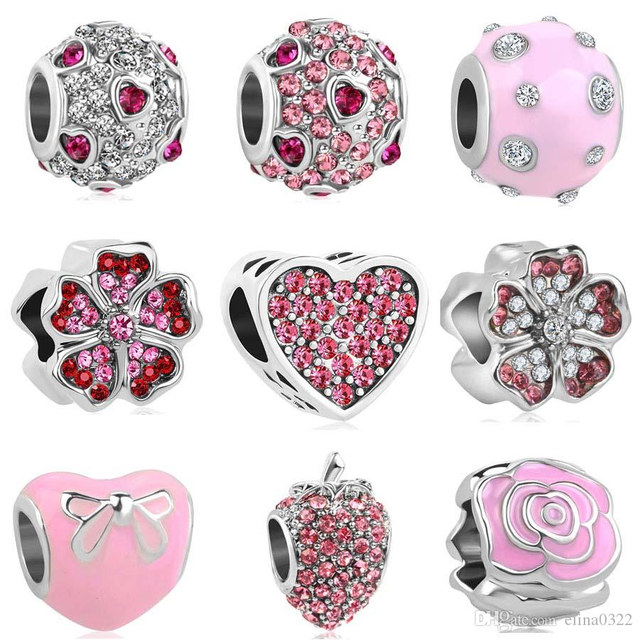 2018 new free shipping european 1pc silver pink heart round flower bow strawberry diy bead fit pandora charm bracelet D045