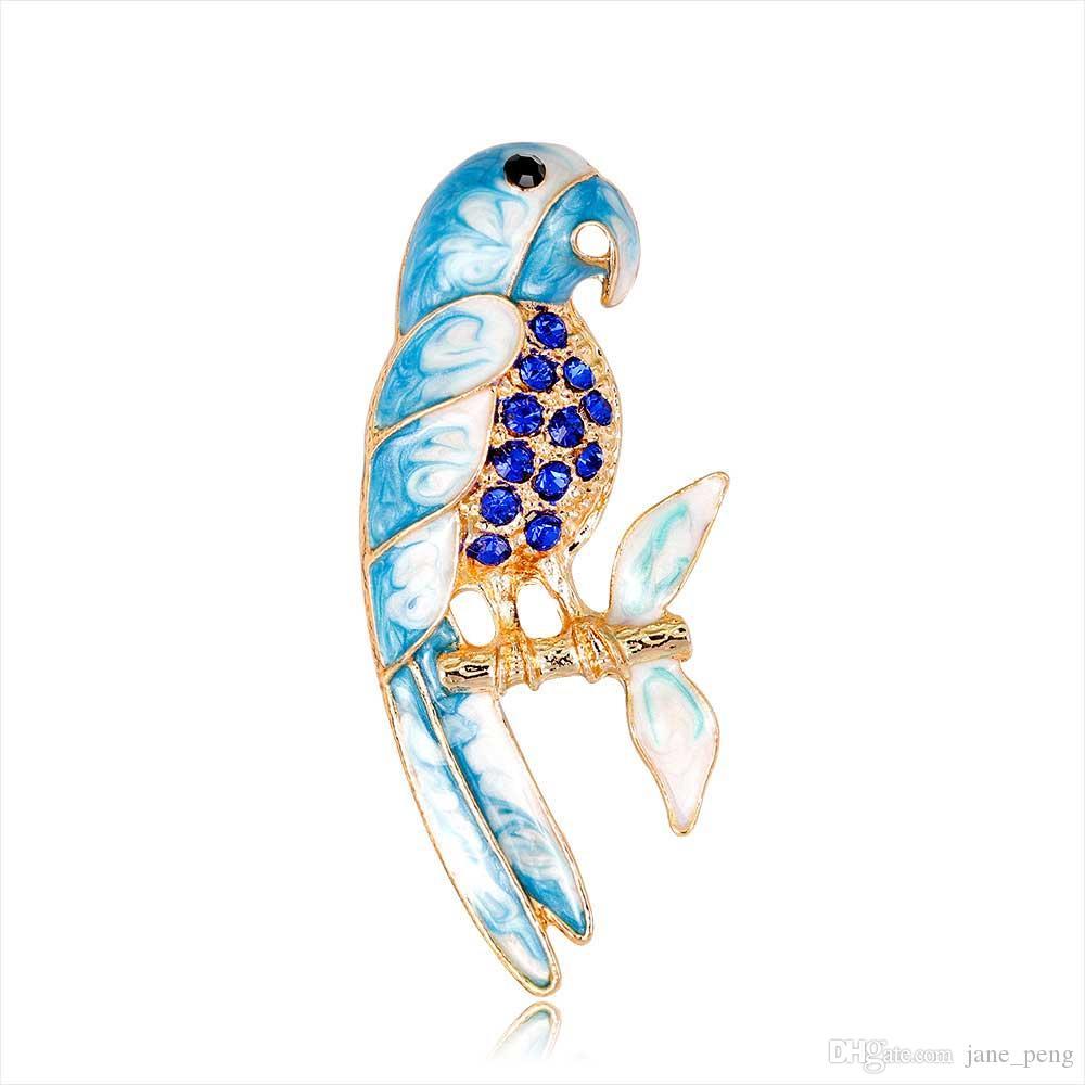 Bunte Emaille Papagei Kristall Broschen Pins Für Frauen Herren Kleidung Schal Tasche Elegante Vogel Broach Rhinstone Broche Europäischen Vereinigten Staaten