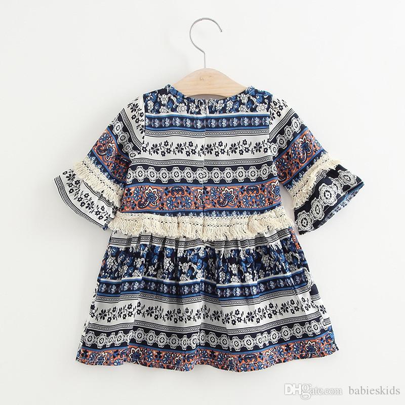 Vestido de verano sin mangas de la manera para la muchacha del bebé Ropa de vacaciones Estilo de Bohemia Falda de impresión floral Vestidos de niña