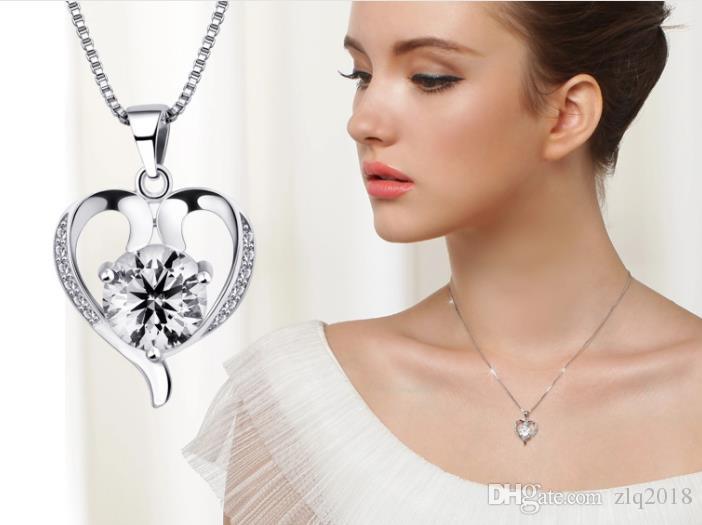 2018 Hot 925 jóias de prata esterlina moda feminina linda linda pingente de colar de jóias por atacado coreano item