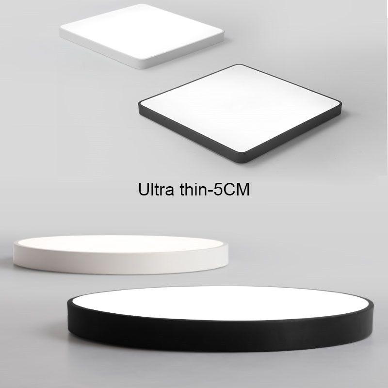 Ultra-ince Pratik 5 cm LED Tavan Lambaları Demir Kare Yuvarlak Siyah / Beyaz Tavan Işıkları Oturma Odası Yatak Odası İç Mekan Aydınlatma