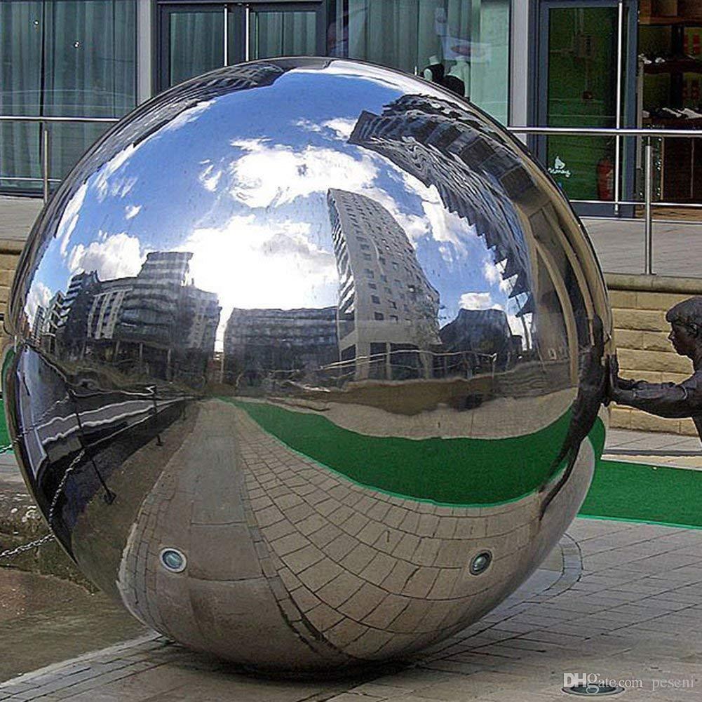 UK Silver Mirror Garden Sphere Ornaments Stainless Steel Gazing Hollow Ball
