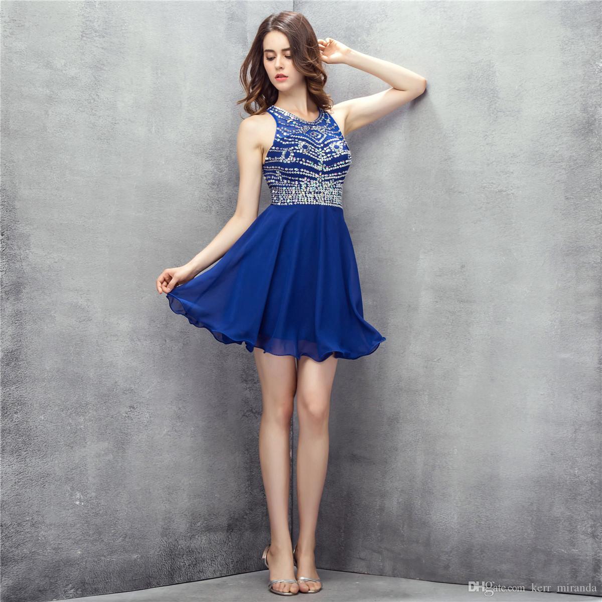 Sexy Royal Blue Krótkie Mini Koktajl Suknie Otwórz Wstecz Handmade Frezowanie Cocktail Prom Dresses Gownging DH308