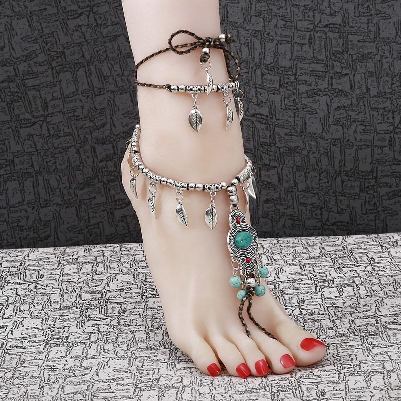 1 PCS Mulheres Praia Com Os Pés Descalços Sandália Pé Tassel Jóias Tornozeleira Multicamada Azul Pedra Anklet Boho Vintage pé jóias
