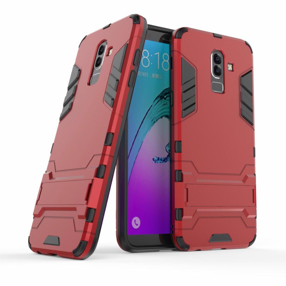 إلى Samsung J8 2018 Case سيليكون Armor Hybrid Hard PC + TPU Cover for Samsung Galaxy J8 2018 buiness style الغطاء الخلفي أكياس