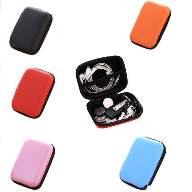 Mini Hold Case Storage Case For Headphones Earphone Earbuds Carrying Hard Bag Box Case For Keys Coin Travel Earphone Acc black
