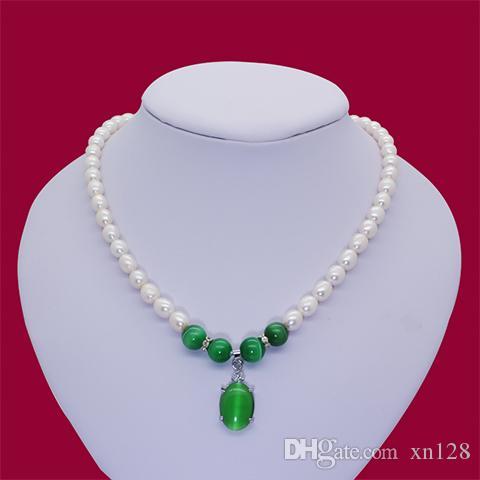 Natürliche Süßwasser Perlenkette echte grüne Anhänger Senden Sie Mom senden ältere Frau Schlüsselbein Kette