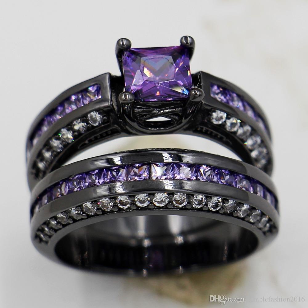 Victoria Wieck 4 colores anillos de la boda Conjunto para las mujeres Zircon piedra Cz 10KT Negro Gold Filled Anillo de aniversario femenino